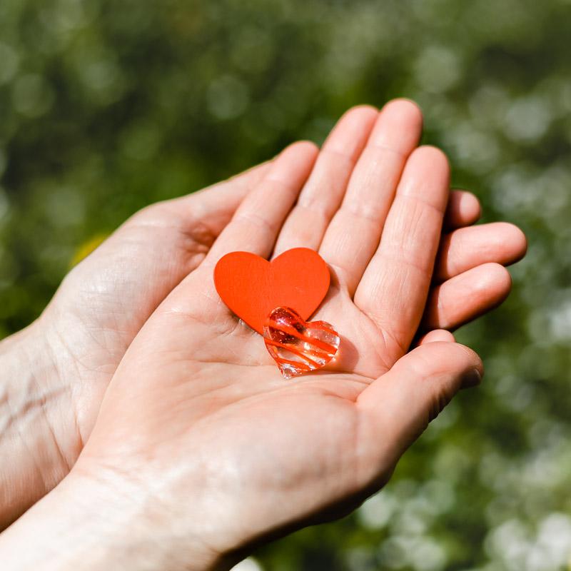 Hände strecken zwei Herzen vor.